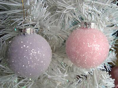 Shabby Pastel Pink Lavender Glass Balls Ornaments Tree Christmas HP Chic