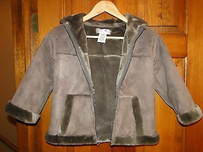 Almost Perfect   Widgeon Girls Faux Fur Shearling Coat Brown Taupe Hooded Size 6