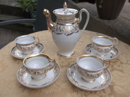 Old Paris White and Gold Empire Demitasse Coffeepot 4 Cups & Saucers Circa 1820