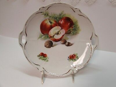 ANTIQUE BAVARIA HAND PAINTED PLATE FRUIT & NUTS BRIGHT COLORS