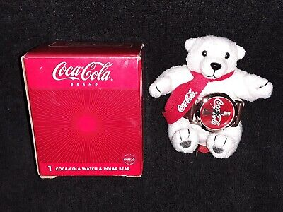 Coca Cola Avon 2002 collectable Coke watch plush polar bear working, new battery
