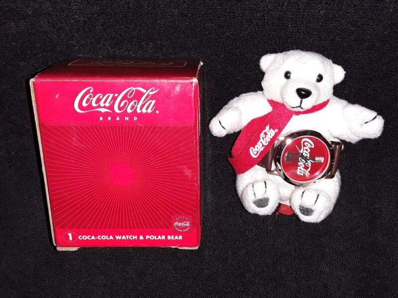 Coca Cola Avon 2002 collectable Coke watch plush polar bear working, new battery