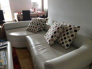 Italian white leather couch