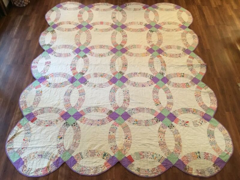 Antique Vintage c1930s Wedding Ring Quilt 71x86 A REAL BEAUTY!