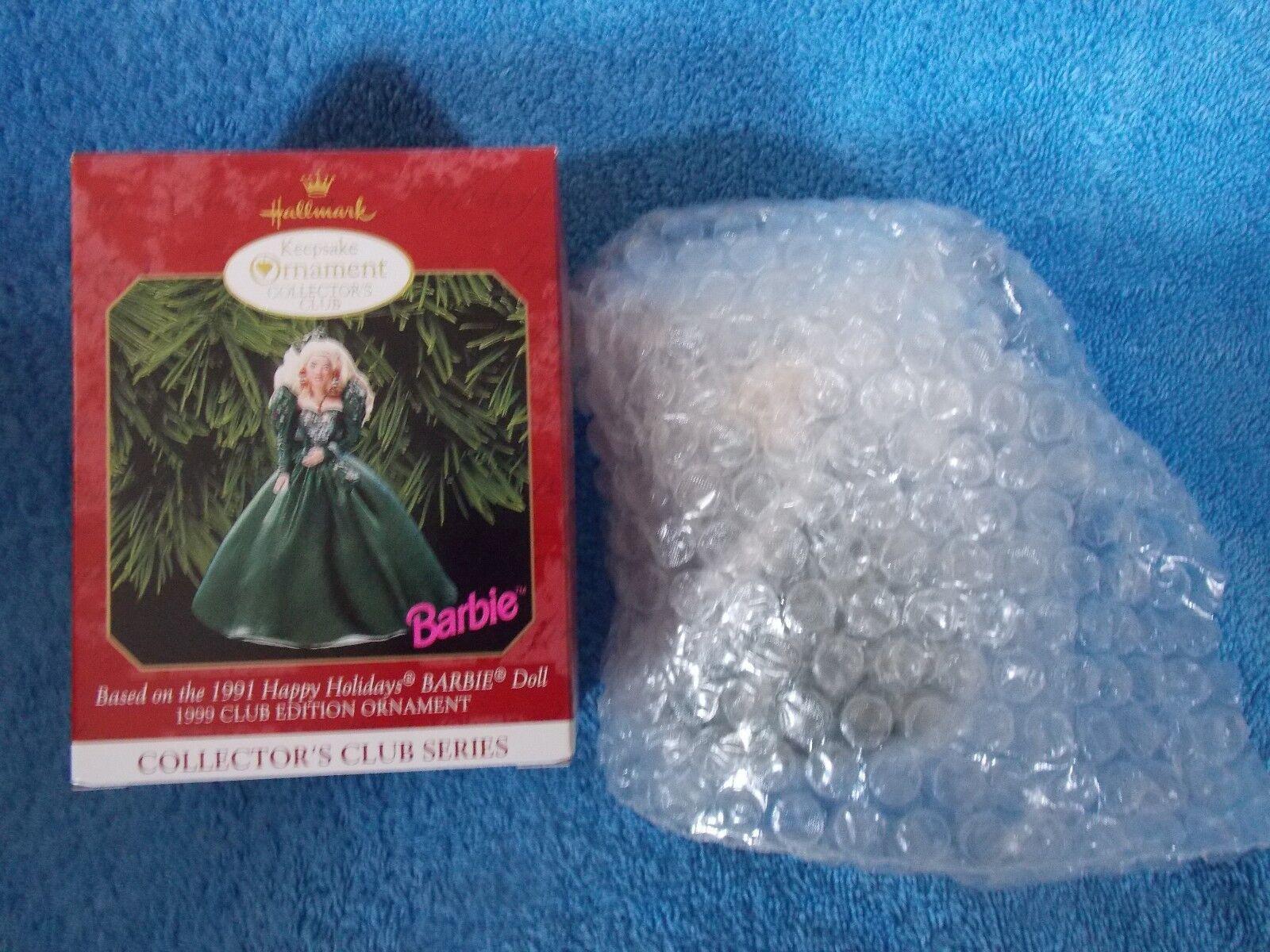 New 1999 Hallmark Collector's Club Barbie Doll Ornament
