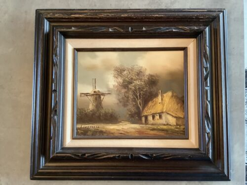 VINTAGE OIL PAINTING SIGNED I. COSTELLO - Windmill Cottage Landscape 8 x10  - $59.99
