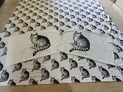 Vintage B Kliban Cat full flat sheet with 2 pillowcases Cat with Kiss