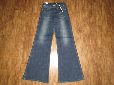 NEW WOMENS EXPRESS MID RISE WIDE LEG FLARE JEANS sz 2R / 2 -