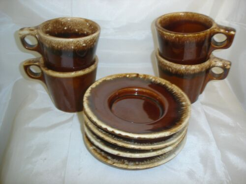 VINTAGE HULL  BROWN DRIP CUP AND HULL CRESTONE SAUCER -  4 SETS