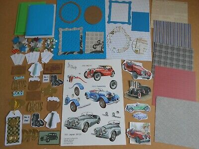 Father's Day Mens Card Making Bundle Vintage Cars Etc Birthday Craft Clearout