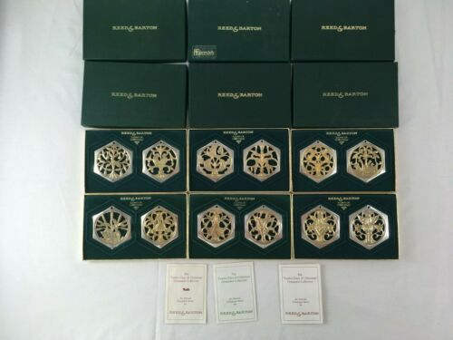 12 Reed and Barton 12 Days of Christmas Holiday Ornaments Complete Set 1983-1988