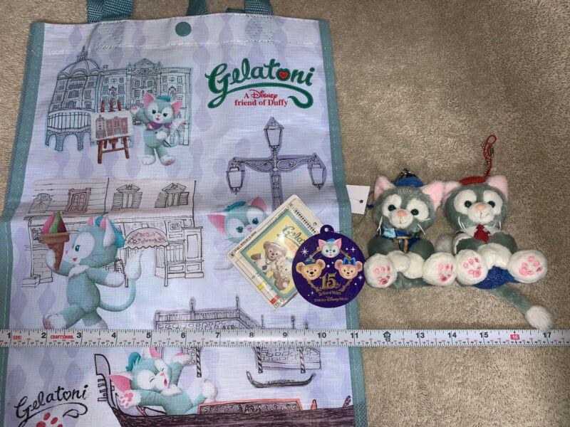 Tokyo DisneySea GELATONI Lot! Plastic Tote Bag 15th Anniv Badge Plush Disney Sea