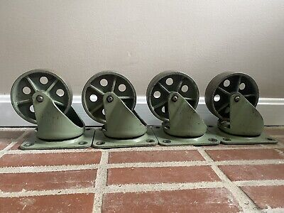 Rare Green Vintage Industrial Metal Cast Iron Noelting Caster Wheels 6.5
