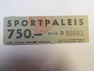 Ancien Ticket Entrée SPORTPALEIS - Anvers - Belgium - (Sans date)