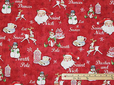 Home for the Holidays Red Allover Cane Christmas Fabric by the 1/2 Yard #25938](Christmas Fabric)