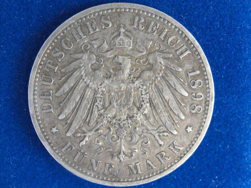 1898 A GERMANY PRUSSIA 5 MARK NICE GRADE ORIGINAL COIN