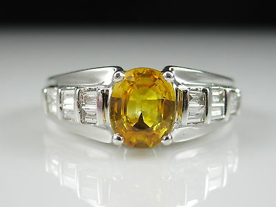 Sapphire Diamond Ring 18K White Gold Fine Jewelry Yellow Oval Genuine Size 8.5