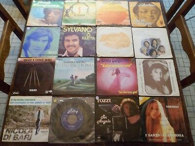 "Lot de 56 Disques / Vinyles - 7"" - 45 tours Italiens - 4 photos - (43)"