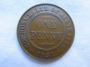 1931 AUSTRALIAN ONE PENNY KING GEORGE V EXCELLENT CONDITION