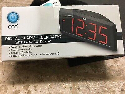 ONN AM/FM Digital Alarm Clock Radio Large 1.8 Display Battery Back Up -not Incl