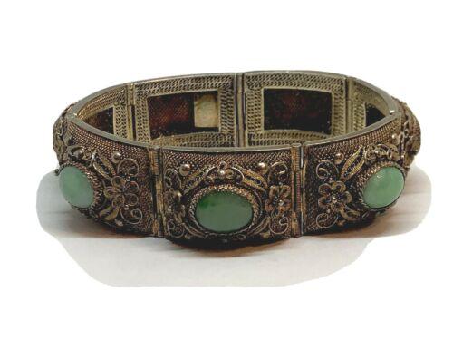 Beautiful Antique Chinese Gilt Gold Silver Jade Link Bracelet Vermeil Mesh