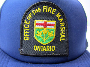 Office of the Fire Marshal Ontario Patch on Navy Snapback Hat Cap 1/2 Mesh