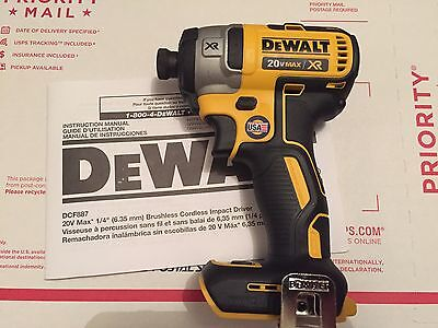 "New Dewalt DCF887 20V Max Li Ion 3 Speed XR Brushless 1/4"" Impact Driver DCF887B"