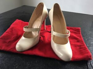 Authentic Christian Louboutin Beige Mary Jane Pumps 100mm 35.5