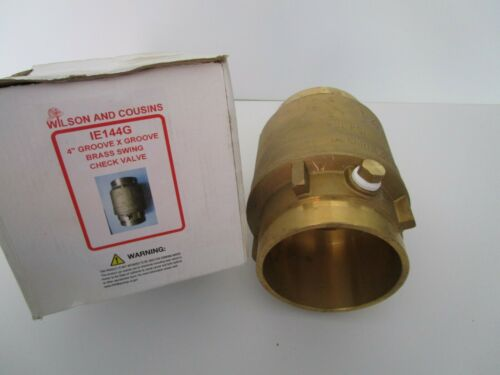 """4"""" GROOVE x GROOVE SWING CHECK VALVE BRASS 300 psi  Wilson and Cousins IE144G"""