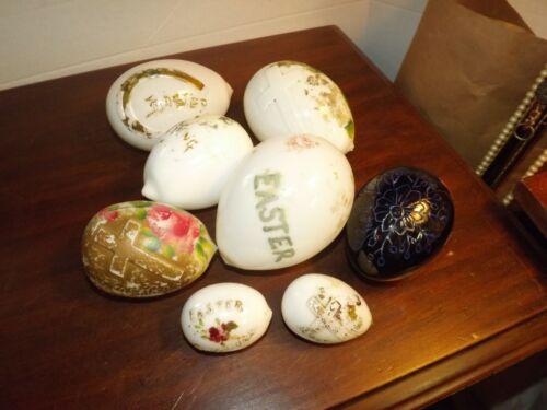 "Lot 8 Antique Hand Blown Victorian Glass Easter Eggs 3-5""Long"
