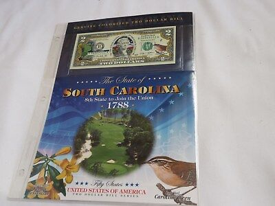 COLORIZED STATE BIRD $2 BILL TWO DOLLARS SOUTH CAROLINA GEM UNCIRCULATED