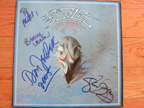 The Eagles signed album by 3 coa + Proof! Glenn Frey Don Felder Bernie Leadon LP