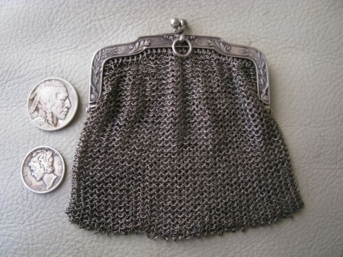 Antique FRENCH STERLING SILVER Chatelaine Floral DOUBLE Mesh Coin Purse FRANCE