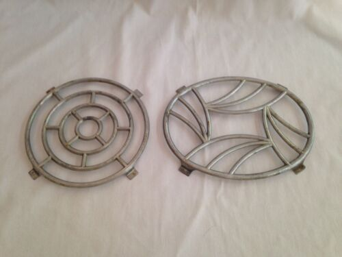 "2 Vintage French Cast Aluminum Trivets Stamped ""Made in France"""