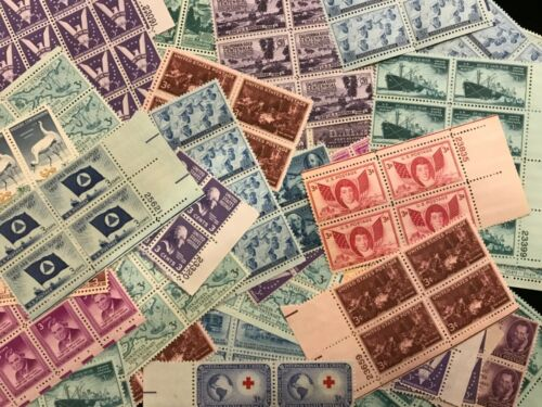 US  MINT POSTAGE stamp lot collection 25 -  3 cent blocks of 4 = 100 stamps