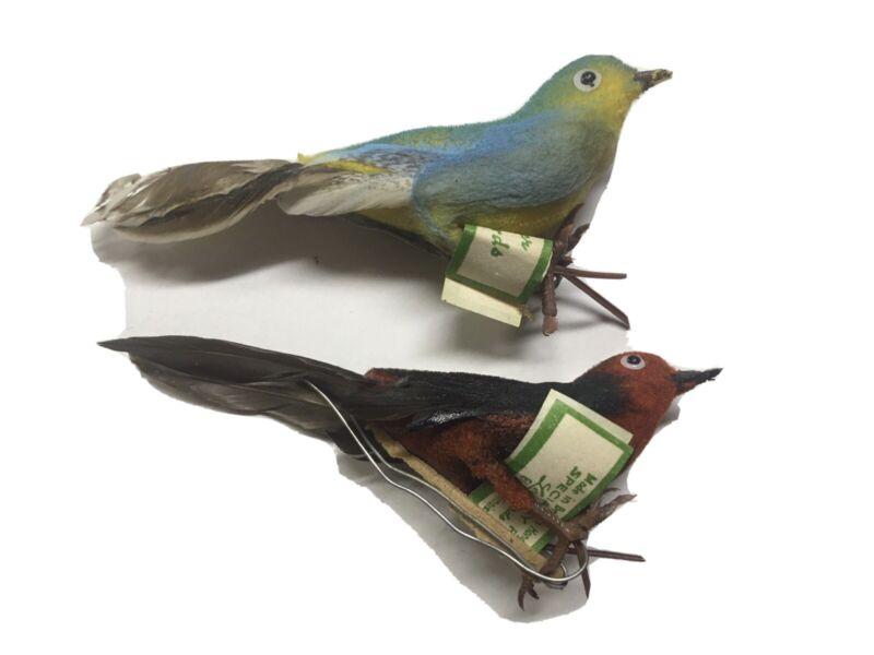 2 Vintage LeeWards Birds Crafts Christmas Ornaments