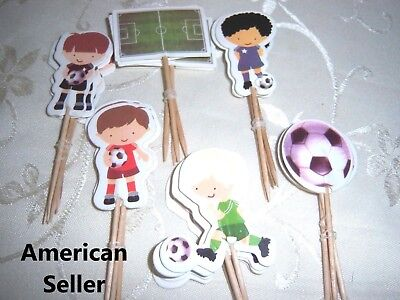 12 Pieces Cupcake Topper Cake Picks SOCCER  - Soccer Cupcake Toppers