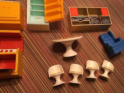 Lot of Vintage 1970s Fisher Price Dollhouse Furniture