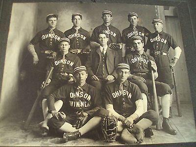1890's Cabinet Card/PHOTO~'Johnson' BASEBALL Team~Gloves/Bats/Ball/Catcher Mask~