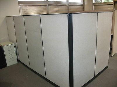 Office Cubicle Wsix Partitions Corner Desk Included Modular - Used
