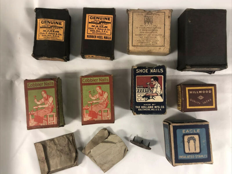 Lot Cobbler Shoe Nails Brass Holland Baker Hillwood Grammes Bishop Babcock Atlas