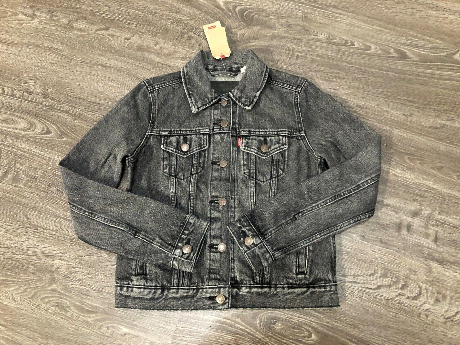 Women's Levi's Original Trucker Jacket Black Charcoal Gray D