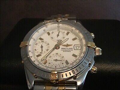 Breitling Chronomat 18K Gold & Steel Auto White Dial 39mm B13352 Watch