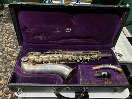 CONN MEZZO SAXOPHONE SILVER PLATED WITH NECK AND ORIGINAL CASE PLAYS