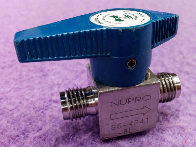 "1pc Swagelok Whitey Nupro 1/4"" Plug Valve SS-4P4T-BL -- Blue Handle -- Stainless"