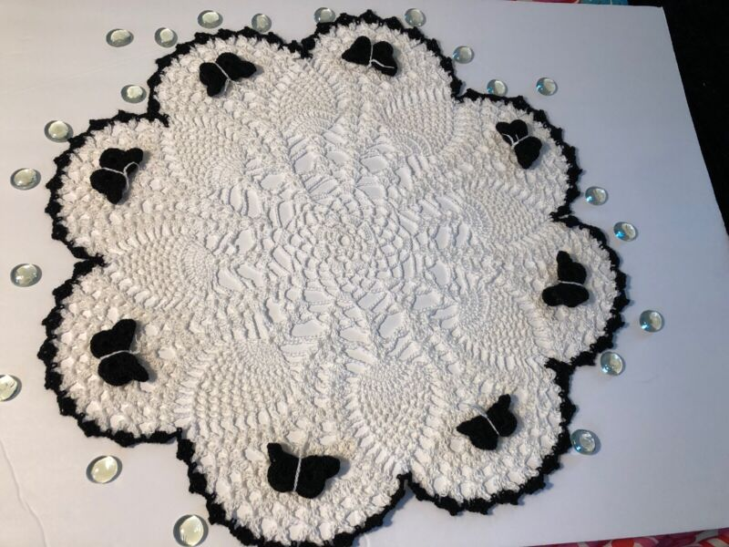 "Brand New Hand Crocheted 19"" Black/white Centerpiece Doily"