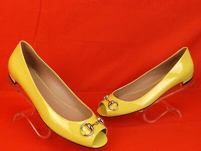 NIB GUCCI HOLLYWOOD YELLOW PATENT LEATHER SILVER HORSEBIT #371199 FLATS 40 10
