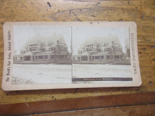 1893 Stereoview Photo Columbian Exposition Chicago World Fair Wisconsin Building