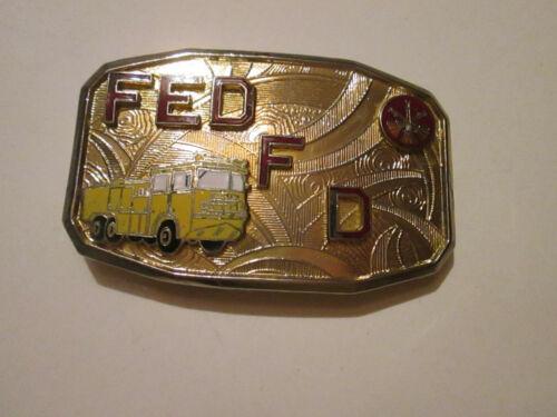 Goldtone Federal Fire Department Belt Buckle – USED 1990