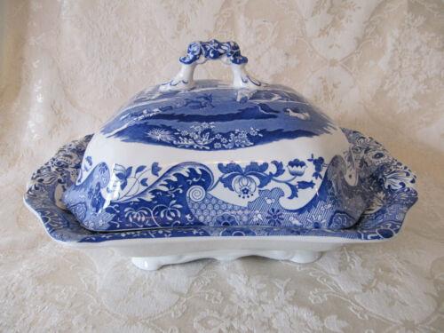 "Spode BLUE ITALIAN Large 12"" Covered Vegetable Dish"